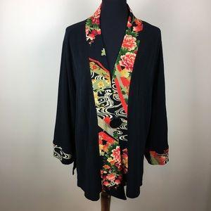 Soft Surroundings floral trim kimono black size XL